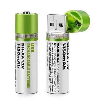 Set of AA Rechargeable Batteries with USB Plug - 2 Pieces